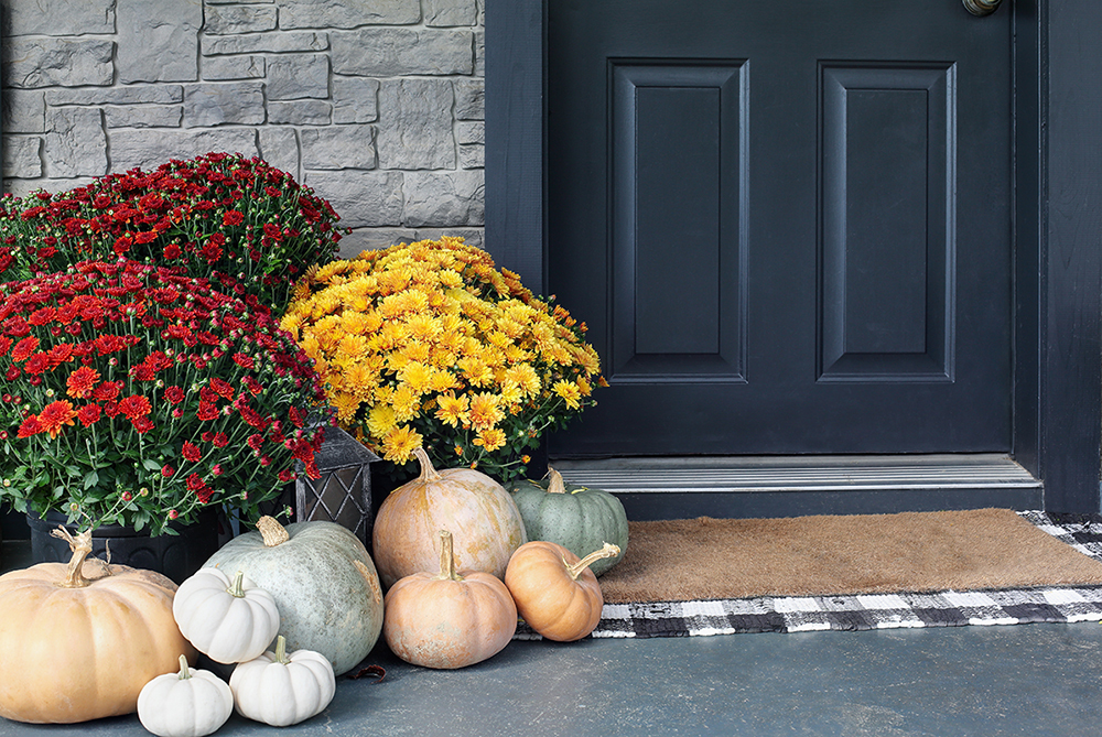 Heirloom white, orange and grey pumpkins with colorful mums sitting by front door.
